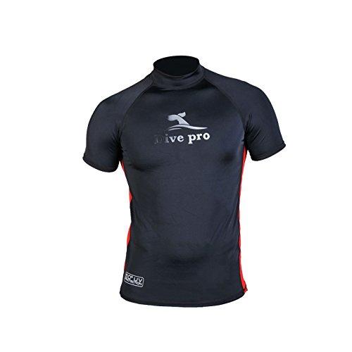 DivePro Rash Guard UV Shirt - Herren Lycra Kurzarm schwarz-rot