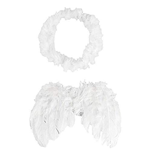 NiceButy recién nacido pluma del ángel alas fijadas lindo del bebé de la pluma blanca de alas de ángel con la venda del bebé de Cupido fotografía apoya blanco accesorios Ropa