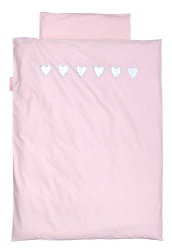 TAFTAN DS-501 Herzen Silber Bettwäsche Set für klein Bett, 100 x 135 cm, in 2 farben verfügbar