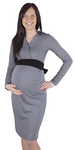 Robe de grossesse avec ceinture Gris