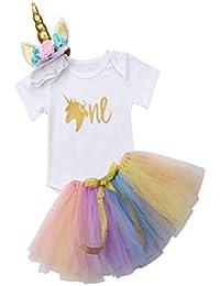 b2cb19497 Ropa Bebe NiñA Verano Bebé ReciéN Nacido AlgodóN Unicornio Mameluco Tops  Vestido De Tul Conjunto Conjunto