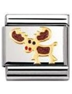 Nomination Composable Classic TIERE - LAND Edelstahl, Email und 18K-Gold (Elch) 030212