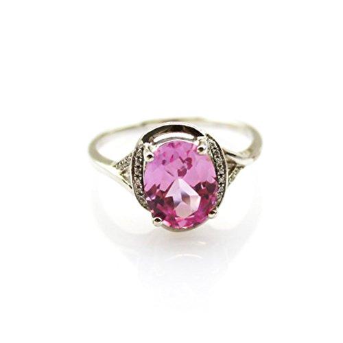 Jade Angel 7x9mm rosa zirconi e strass Anello In Argento Sterling