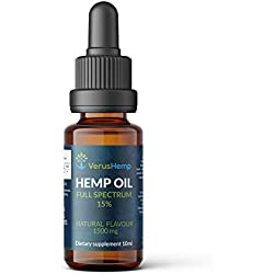 Full Spectrum Hemp Oil Drops 15% 1500mg 10ml | Raw Hemp Extract |Strong High Quality| Organic and Natural | Anti-inflammatory | Relief From Stress, Anxiety and Pain | suitable for Vegans & Vegetarians