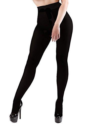 Miss Naughty 100 Denier Blackout Strumpfhose mit offenem Schritt - One Size bis XXL - Black-XL (Schritt-strumpfhosen Offenen)