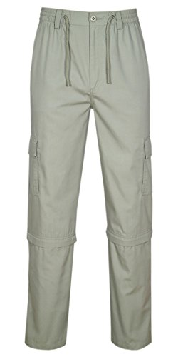 Herren Cargo Hose Zip Off, 2 in 1 Outdoorhose Sommer Freizeithose Baumwoll-Mix-Beige-2XL