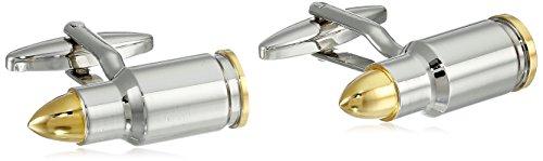 Bling Jewelry Deux Homme D'Armes À Feu La Police Ton Bullet De Manchette pour Marksman Hunter en Acier Argent Plaqué Or