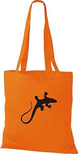 ShirtInStyle Stoffbeutel Gecko Echse Leguan Baumwolltasche Beutel, diverse Farbe orange