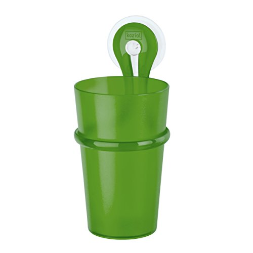 koziol Zahnputzbecher-Halter 300 ml Loop,  Kunststoff, transparent grün, 8 x 7,2 x 17,5 cm