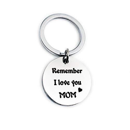 Schlüsselanhänger Gravur Rund Remember i Love You mom dad Edelstahl Schlüsselband für Auto ()