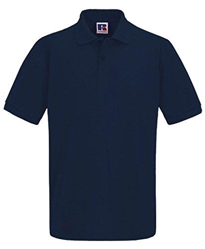 LotMart Herren Russell Einfarbiges Pique Polohemd T-Shirt Sommer 100% Baumwolle Kurzärmeliges TOP Marine