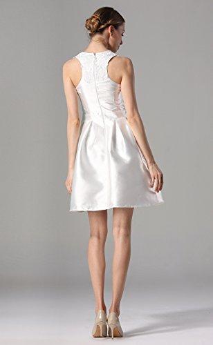 Durchbrochene Stickerei Rundhalsausschnitt ärmelloses Kleid Der Heiße Bohrung White