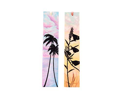 Zwei handgemalte handgefertigte Papier Lesezeichen mit Palmen und Schmetterlingen -