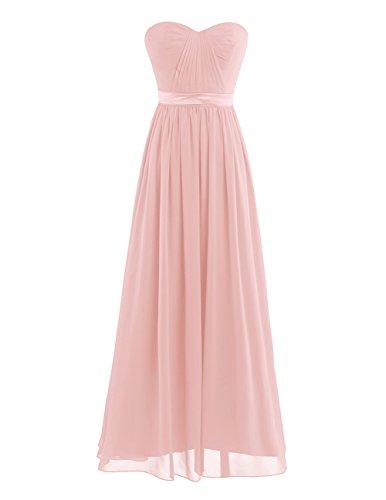 iEFiEL Elegant Damen Kleider festlich Cocktailkleid Chiffon Maxikleid Lang Brautjungfernkleid Abenkleider für Hochzeit Gr. 34-44 Perlen Rosa 44...
