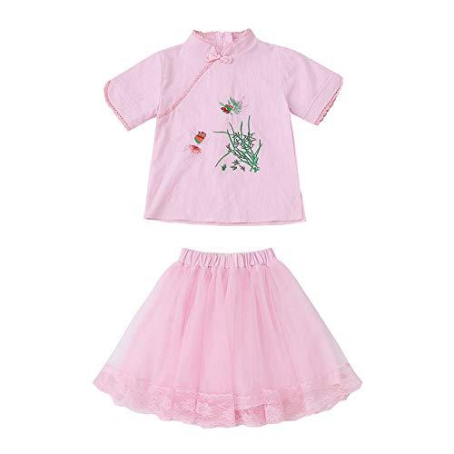 LEEFTM Kinderbekleidung Mädchen Alten Stil Sommer Kinder Zweiteilige Große Kinder Sommer Mädchen Goldfisch Kostüm Hanfu,Pink-5-6Years(130)
