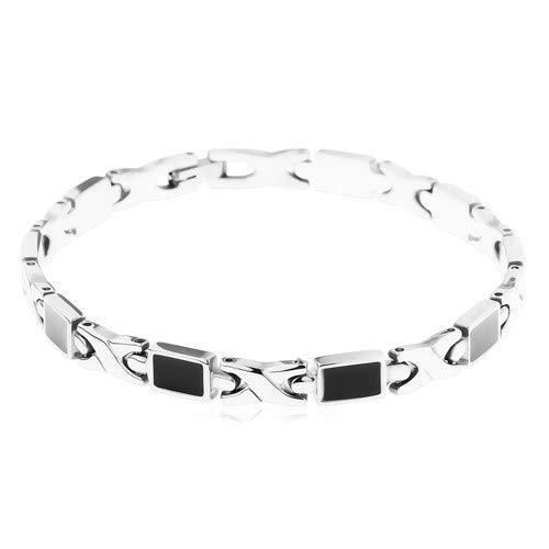"""ORDOŠ Diamonds® Chirurgenstahl 316L, glänzende schwarze Glasur, glatte Hochglanzoberfläche, silberne Farbe, Schmuck aus 316L-Stahl,""""X"""" -Form"""