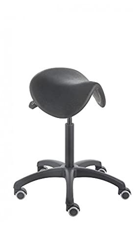 Sattelhocker PUR 3411, Sitzhöhe ca. 55 - 74 cm, neigbarer Sattelsitz aus Polyurethan, Rollen