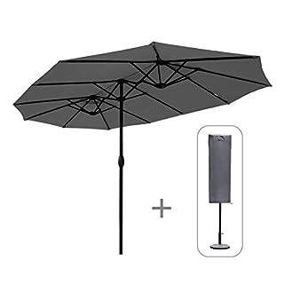 Sekey 270 X 460 cm Doppelsonnenschirm | Sonnenschirm mit Schutzhülle Sonnenschutz UV50+ Grau