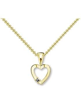 Herzchen Kette Gelbgold 333 mit Zirkonia + inkl. Luxusetui mit GRAVUR + Goldanhänger echt Gold Herzkette mit Stein...
