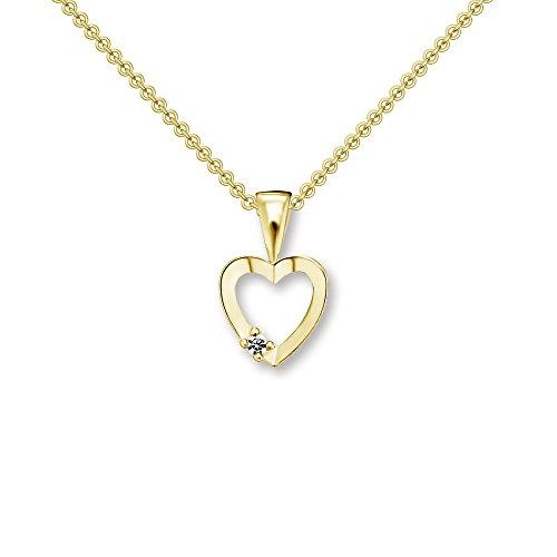Herzchen Kette Gelbgold 333 mit Zirkonia + inkl. Luxusetui mit GRAVUR + Goldanhänger echt Gold Herzkette mit Stein wie Diamant Herz Anhänger Herzanhänger Goldkette FF510 GG333ZIFA45