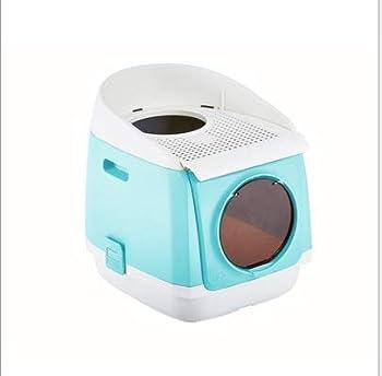 D&D Litière à Capuchon pour Chat Cat Center Toilettes Kitty intérieures et intérieures couvertes Cabine sans Porte à Double Porte Toilette entièrement fermée pour Chat Pliage Anti-éclaboussures,Blue