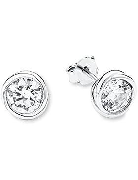 s.Oliver Damen-Ohrstecker 8 mm Silber 925 rhodiniert Zirkonia weiß