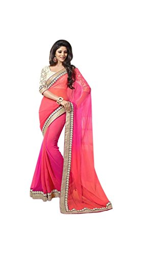 Vipul Women's Branded Beige & Pink Casual Wear Georgette Saree (Best Gift For Mummy Mom Wife Girl Friend, Exclusive Offers and Sale Discount)  available at amazon for Rs.247