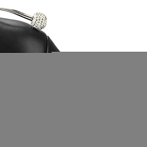VogueZone009 Femme Haut Bas Couleur Unie Tire à Talon Haut Bottes avec Nœuds à Deux Boucles Noir