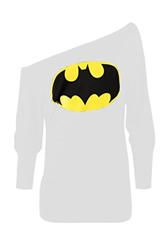 Womens Off Shoulder Batman or Superman Off-Shoulder Top. Sizes 8 to 22