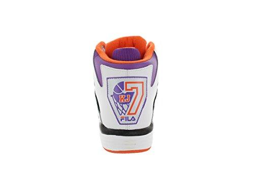 Fila KJ7 garçons Cuir Baskets Wht-Dwbry-VbOrg
