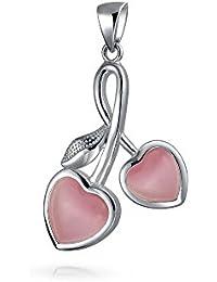 Bling Jewelry simulado gatos Rosa Corazones Ojo Cereza Colgante Plata Sterling .925