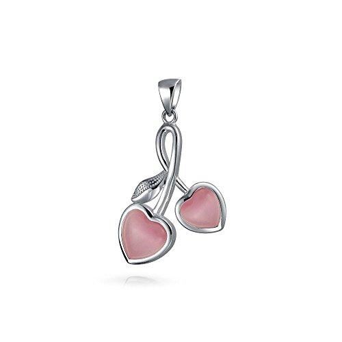 Bling Jewelry simulierten Rosa Cats Eye Herzen Cherry Sterling Silber Anhänger (Americana Kirsche)