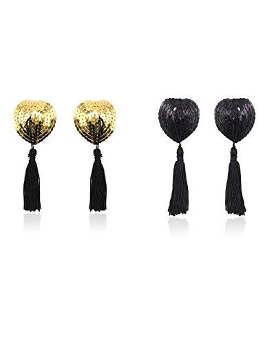 Copricapezzoli in silicone, Domowin Donna Cuore scintillante Riutilizzabile Nipple Cover Una coppia di Pasties A forma di cuore 2 Coppia (Oro&Nero)