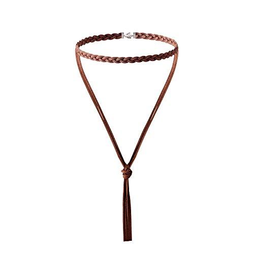 (Jane Stone Damen Halskette Choker Halsband Braum Schnur Boho Stil schick enge anliegende Jocker Kette für junge Frau und Mädel)