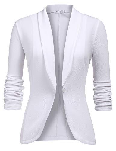 Chaqueta de Traje de Negocios para Mujer Blazers Manga 3/4 Slim Fit Elegante Blázer Blanco XXL