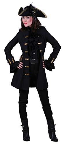 Mantel Damen Piraten Kostüm - narrenkiste T1857-0100-S schwarz Damen Piraten Jacke lang Barock Mantel Gr.S