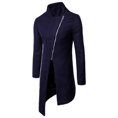 Daye Herren Arbeit/Lässig/Alltäglich Mode asymmetrische Schräge Zipper Mantel, Navy Blue, XL Navy Blue Trench Coat
