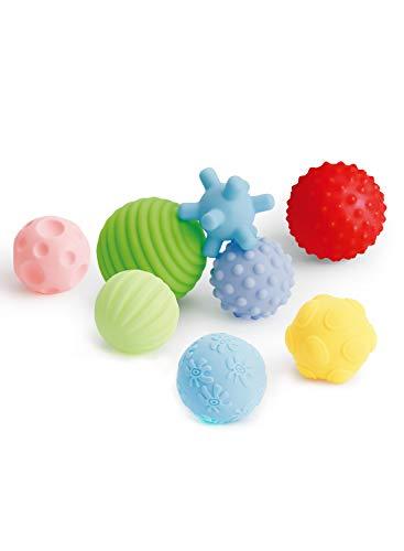 Coolle BPA Free Soft Sensory Touch Plusieurs Ballons de Texture Perception pour bébés Jouets avec Couleurs Vives et Sons BB Ensemble de 8 pour Enfants Enfants Garçons Filles, âge 6M +