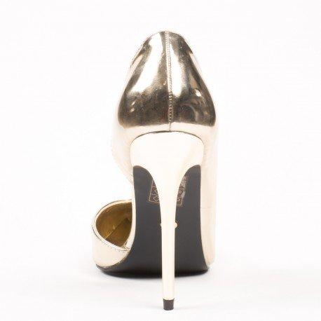 Ideal Shoes - Escarpins semi-ouverts à bout pointus et verni Demy Doree