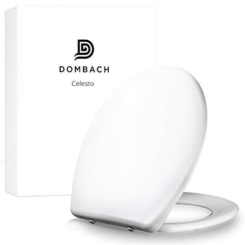 Dombach Celesto Toilettendeckel - der Innovative Premium WC-Sitz mit Softclose / Absenkautomatik - Abnehmbar - Toilettensitz familienfreundlich antibakteriell aus Duroplast und Rostfreiem Edelstahl