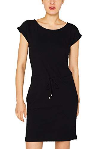 ESPRIT Damen 049EE1E004 Kleid, Schwarz (Black 001), Medium (Herstellergröße: M) (Damen-kurz Baumwoll-jersey)