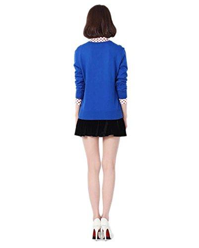 Minetom Donna Elegante Casuale V Collare Camicetta a Maniche Lunghe Top Bordo Aperto Cardigan Maglia Corta Molti Colori Blu