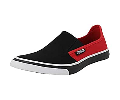 PUMA Unisex's Apollo Slip On IDP Black-High Risk Red Silver Sneakers-9 UK/India (43 EU) (4060979546936)