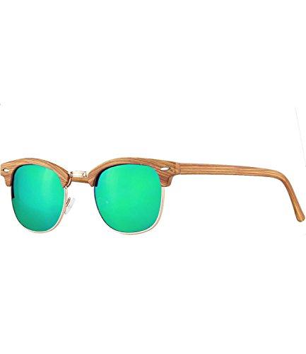 Caripe Retro Sonnenbrille Clubmaster - clubma (Modell 4 - woodoptic natur - bluegreen verspiegelt)