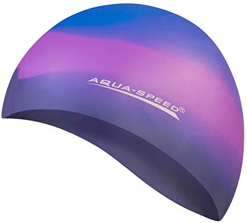 Aqua Speed® Set - BUNT Badekappe + Kleines Mikrofaser Handtuch | Silikon | Bademütze | Badehaube | Schwimmhaube | Erwachsene | Damen | Herren | Kinder, Kappen Designs:23. Bunt / 71