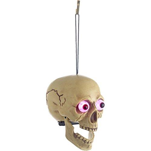 t Kopf mit LED Farbwechsel Augen leuchten im Dunkeln Sensenmann Deko Schocker perfekt für Halloween Horror Deko super spooky Hypnose Monster ()