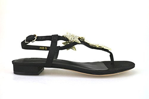 scarpe donna LUCIANO BARACHINI sandali nero raso / strass AH91 (36 EU)