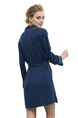 Suntasty Damen Morgenmäntel kurzform Bademäntel mit Gürtel langarm Nachtwäsche Blau