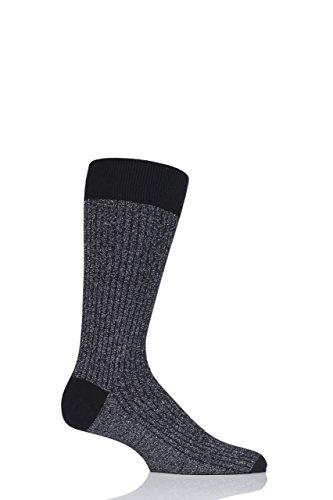 Herren 1 Paar Pantherella Scala Kaschmir-Mischung funkeln gerippte Socken - Schwarz 44-46 (Luxus Herren-socken Blend Cashmere)