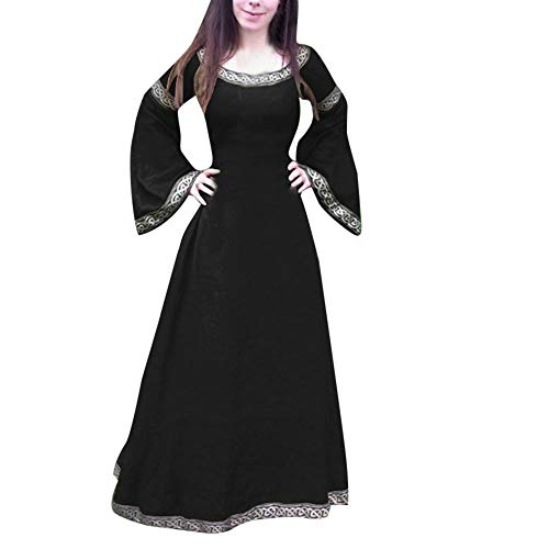 Fenverk Witch Renaissance Victorian Dress Prom Costume Cosplay Maxi Women's Vintage Bandage Long Sleeve Medieval Slim Waist Retro Flare Court Princess(Schwarz A,M)